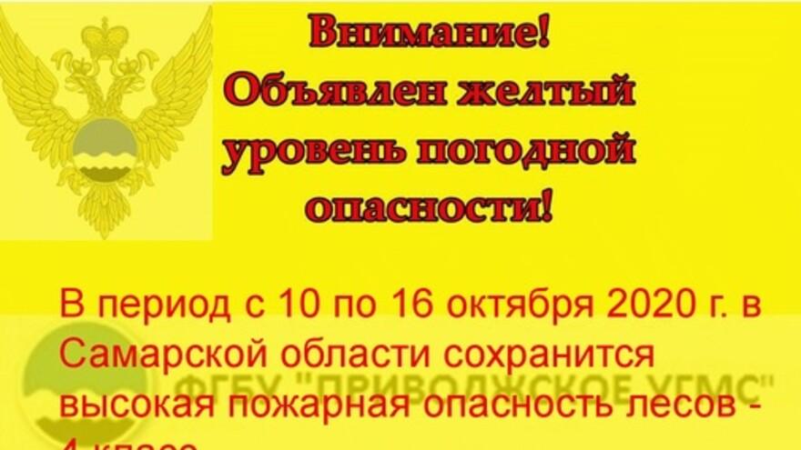 В Самарской области установили желтый уровень опасности