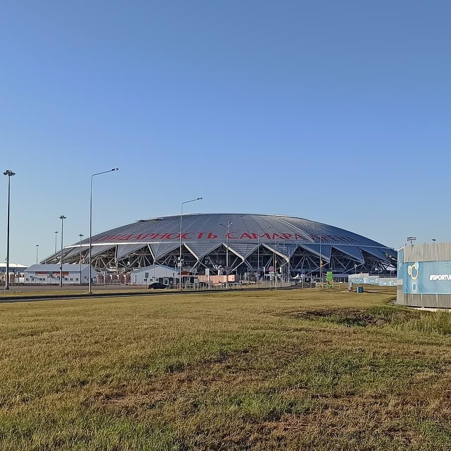 В Самаре 8 июля на куполе стадиона «Солидарность Арена» появилась огромная надпись