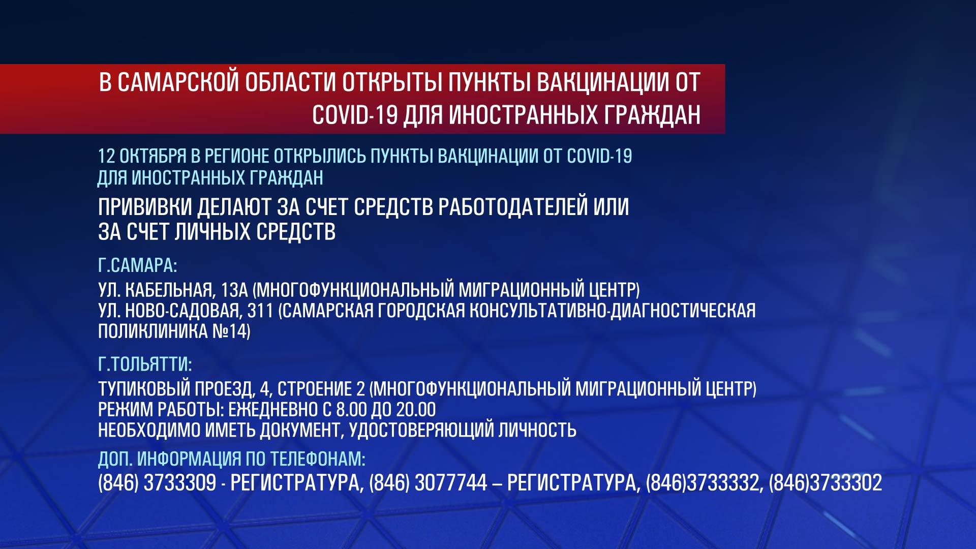 Главная тема: В Самарской области откроются пункты вакцинации от COVID-19 для иностранцев