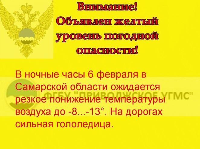 В Самарской области похолодает до минус 26, метель, порывистый ветер: объявлен желтый уровень опасности