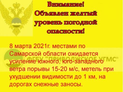 В Самарской области объявили желтый уровень опасности из-за метели и штормового ветра