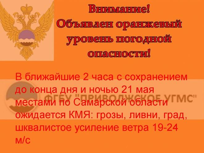 Грозы, ливни и штормовой ветер сохранятся в Самарской области до пятницы
