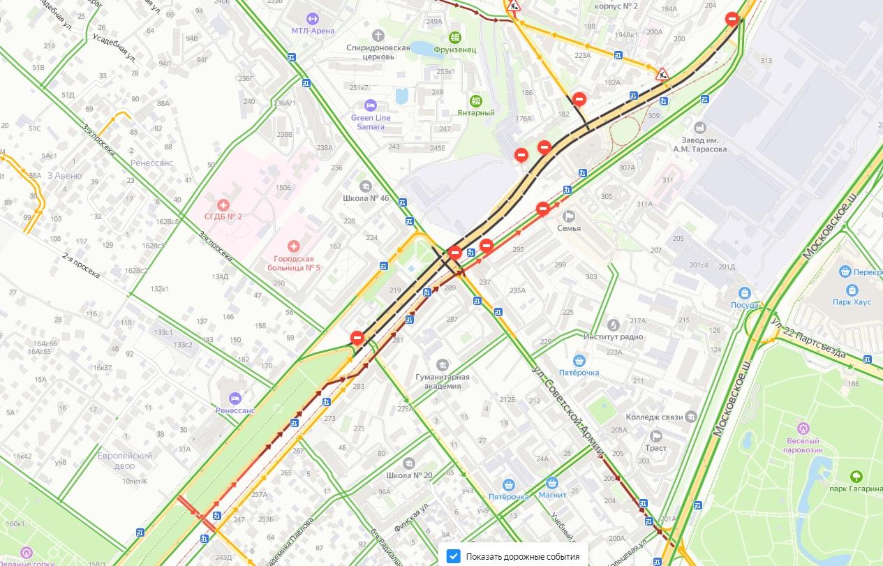 Улицу Ново-Садовую в Самаре перекрыли по основному ходу. Как справляются с затруднением водители?
