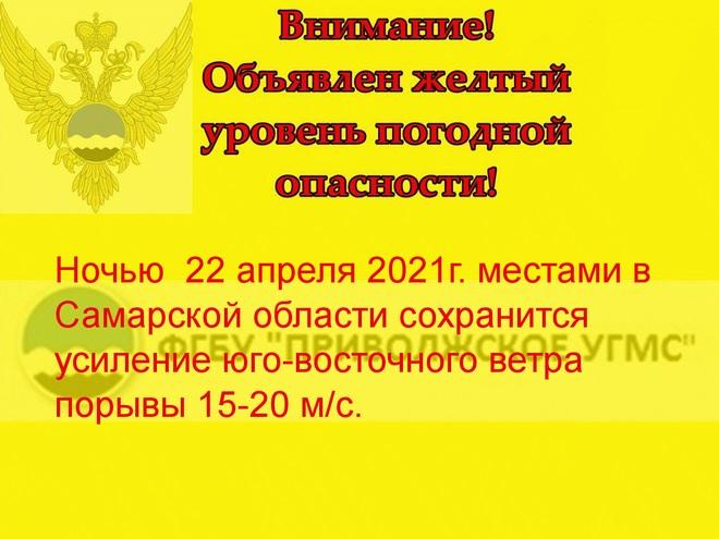 В Самарской области ветер усилится до 20 м/с