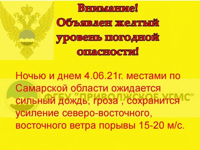 Сильный дождь, гроза и шквалистый ветер придут в Самарскую область 4 июня